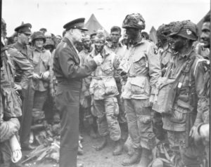 Eisenhower talks with the 101st Airborne, June 5, 1944