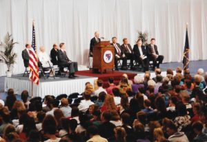 General Brent Scowcroft addresses crowd at Knott Arena, Mount St. Mary's College
