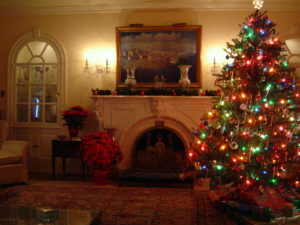Eisenhower Home Living Room at Christmas (National Park Service)