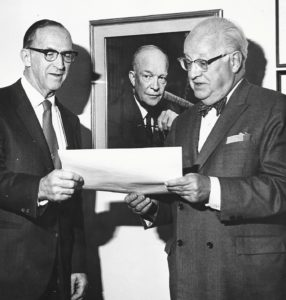 Founder Henry Scharf (right) with Congressman George Goodling