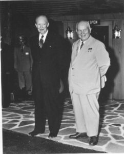 Khrushchev and Eisenhower met at Camp David before traveling to the Eisenhower Farm, September 1959 (U.S.Navy)