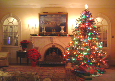 Eisenhower Home living room decorated for Christmas