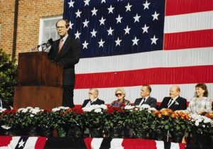 Grandson David Eisenhower addresses the crowd at the Eisenhower Centennial, 1990