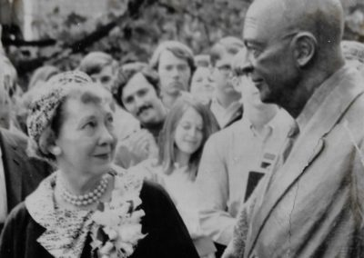 Mamie Eisenhower sees her husband's statue for the first time